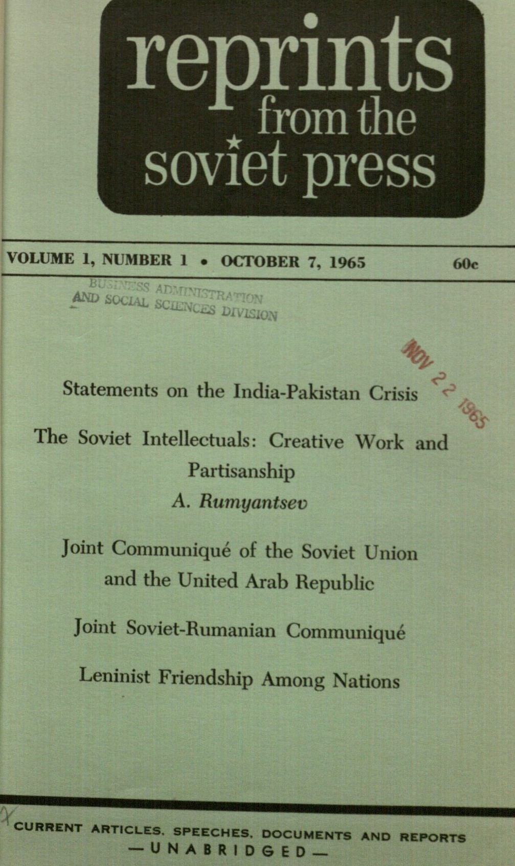 Cover of Reprints from the Soviet press