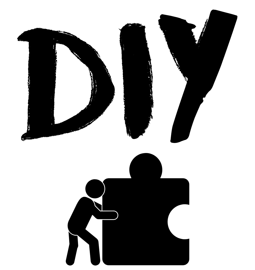 Text DIY with stick person pushing a puzzle peice
