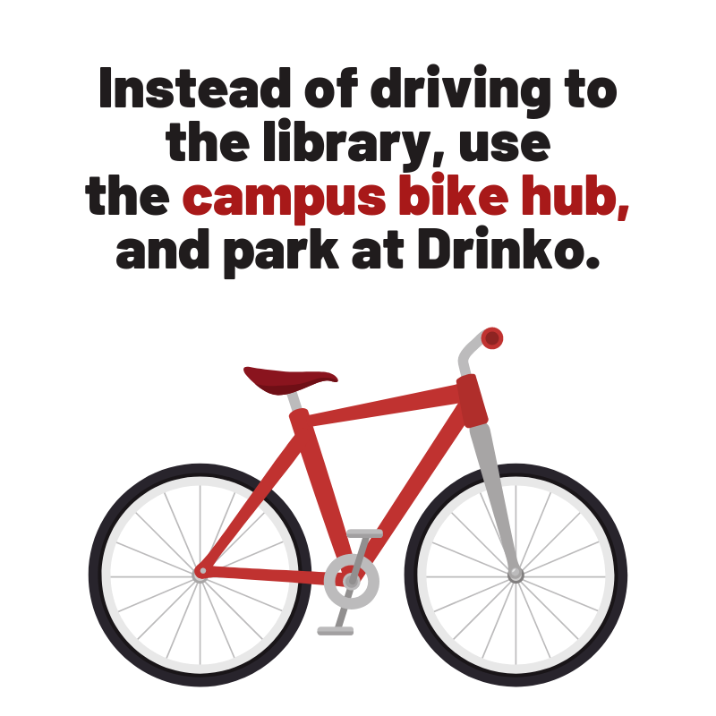Instead of driving to the library, use the campus bike hub, and park at Drinko.
