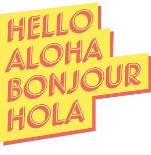 "Cartoon words saying ""hello"" in four languages."