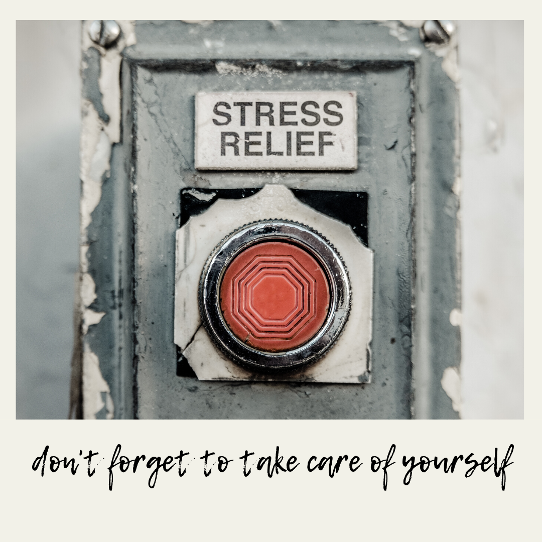 "Stock photo of ""Stress Relief"" button with phrase ""Don't forget to take care of yourself"""