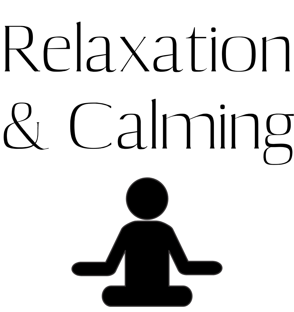 Text relaxation and calming with stick person meditating