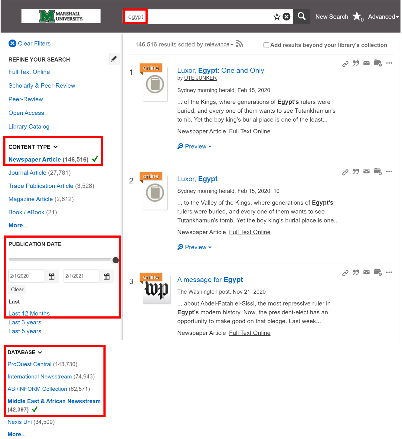 """Screenshot of Summon results page for search term """"Egypt,"""" with results narrowed by: Content Type: Newspaper; Publication Date: Last 12 Months; and, Database: African and Middle Eastern Newswire"""