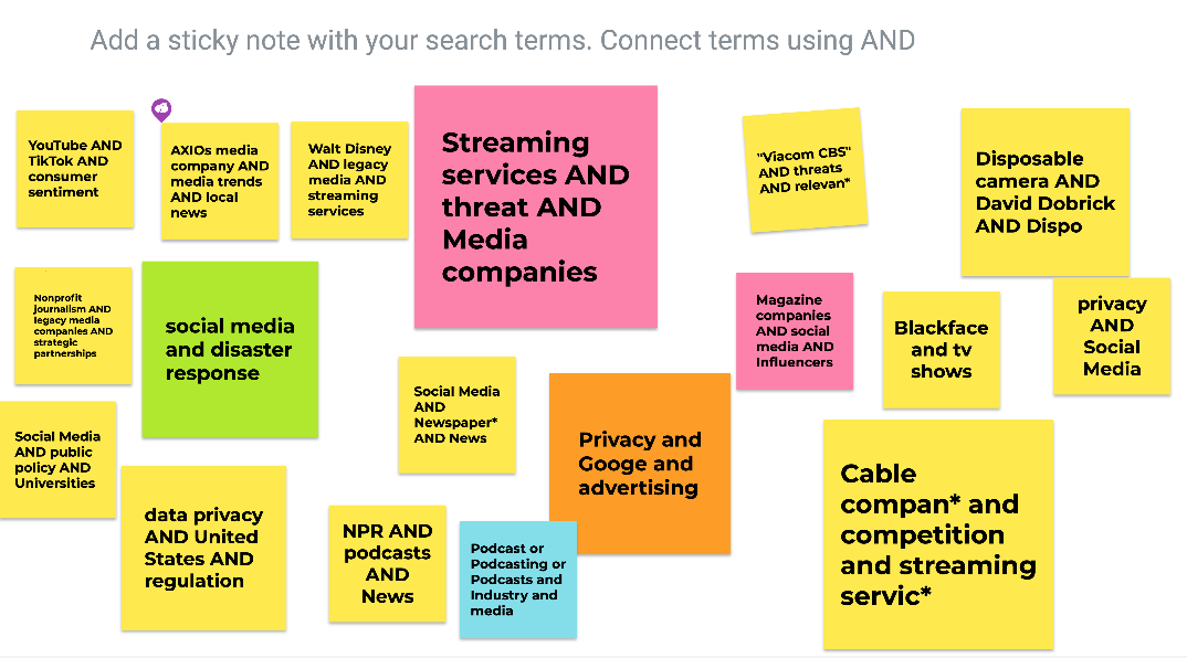 connecting terms with AND, such as Google AND Advertising AND privacy.