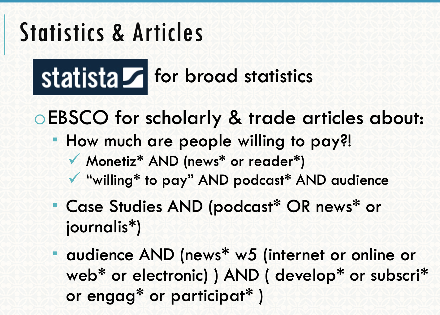 Search strings to find articles in EBSCO