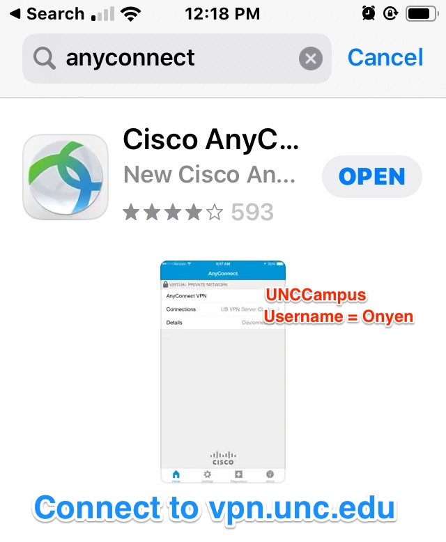 the entry for the Cisco AnyConnect VPN app in the Apple app store