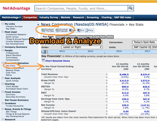 Download & Analyze data in NetAdvantage