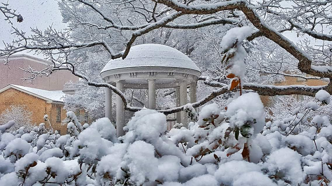 UNC's Old Well with lots of snow