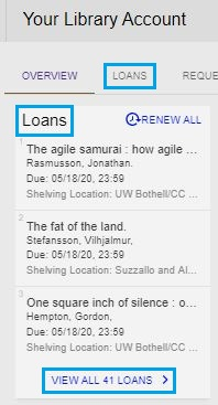 screenshot of loan area of library user account webpage