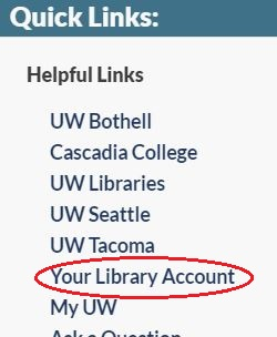 Your Library Account link from Quick Links menu
