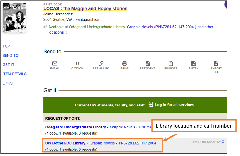 Image of graphic novel in UW Libraries Search