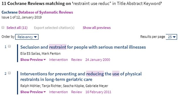 Image of Cochrane Library Search Results