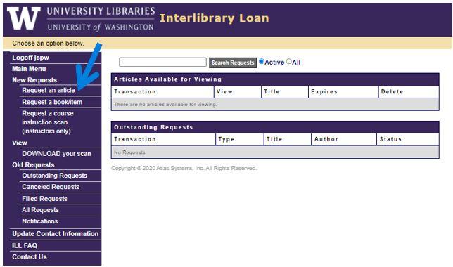 UW Interlibrary Loan menu page
