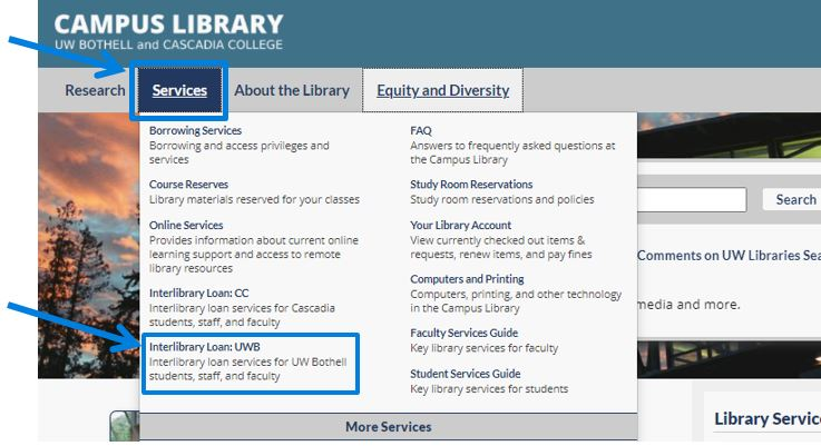 From the Campus Library homepage, click on Services, and click on Interlibrary Loan: UWB
