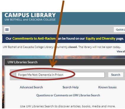 UW Libraries Search box on the Campus Library homepage