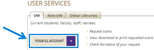 The Your Ill Account button on the interlibrary loan services page