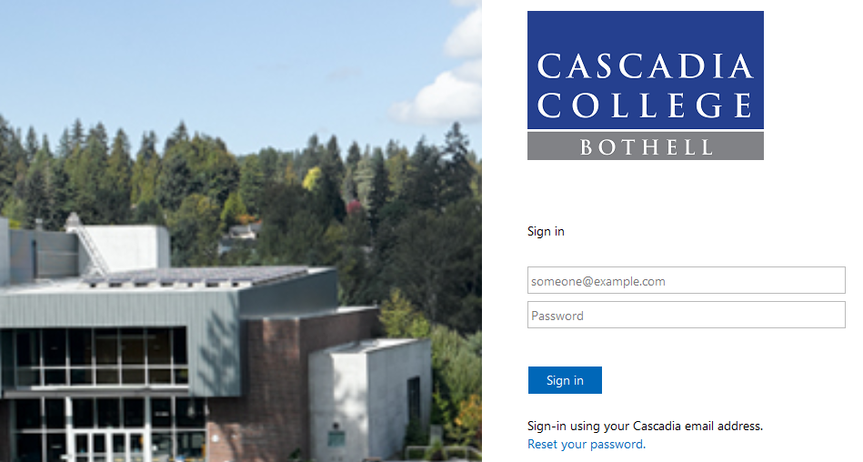 Cascadia College sign in page