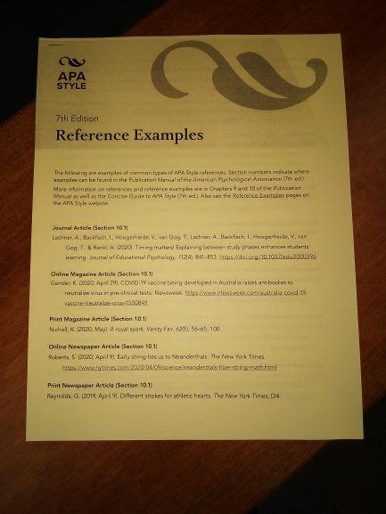 Photo of APA handout