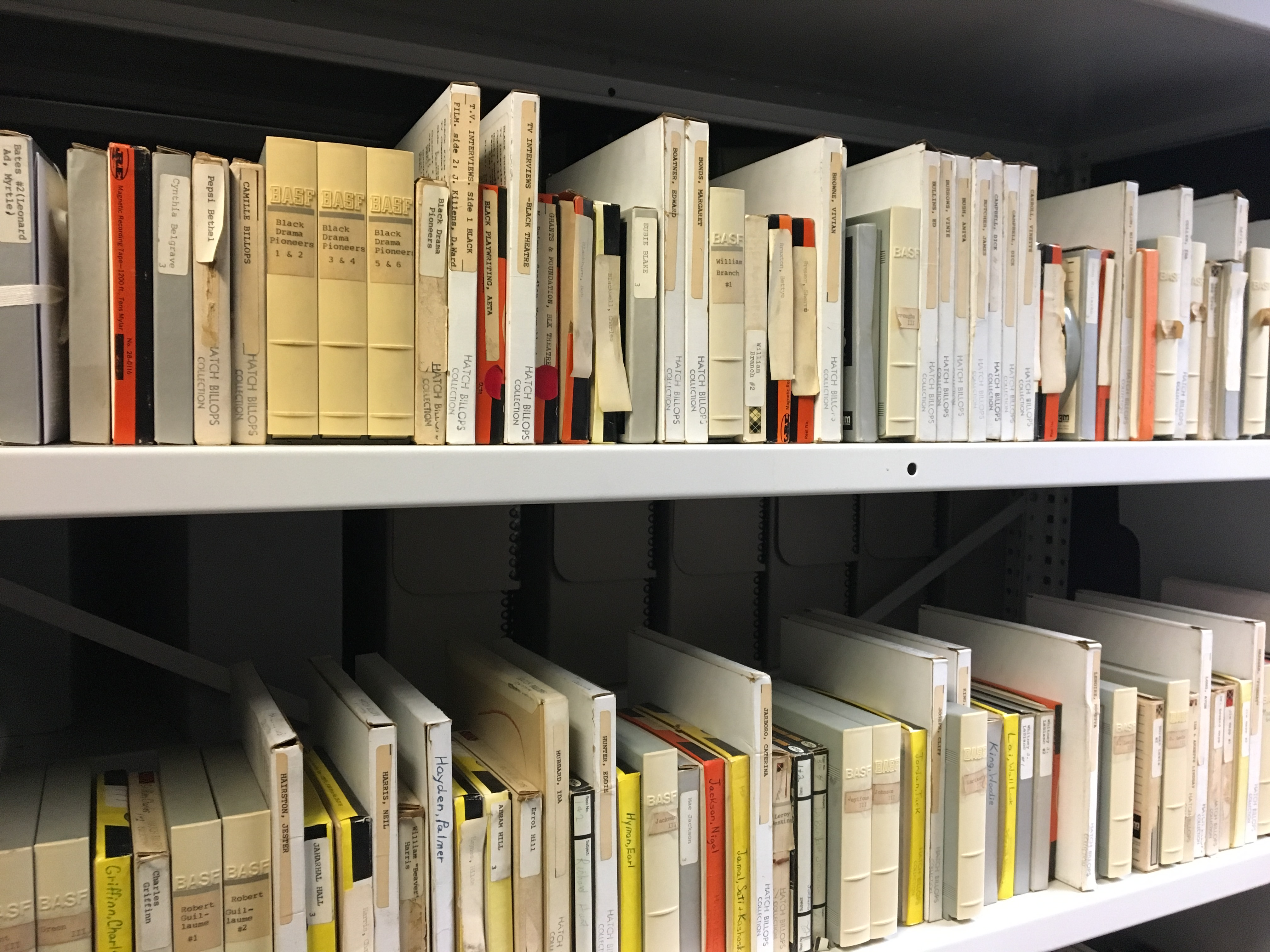 Tape boxes shelved in CCNY archives