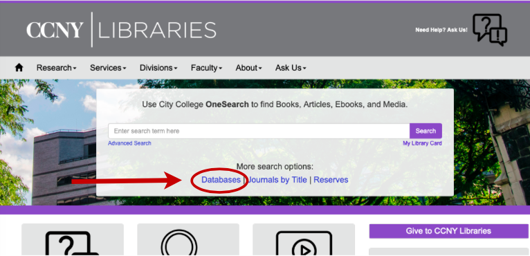 Library Website front page, Databases highlighted