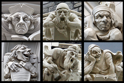 Grotesques designed to represent the practical and fine arts that appear on the buildings of The City College of New York.