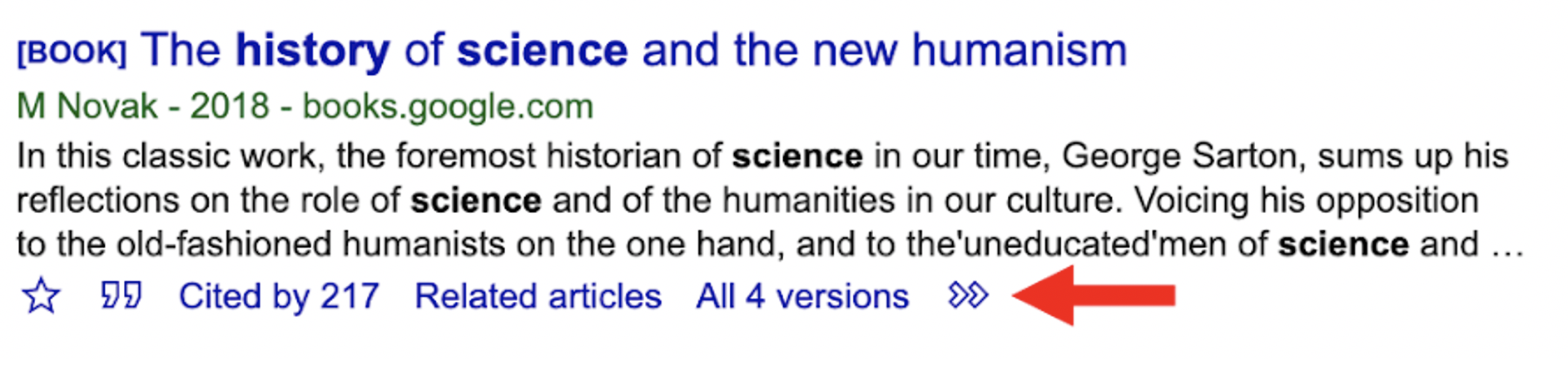 An arrow points at the >> icon under a book citation in Google Scholar.