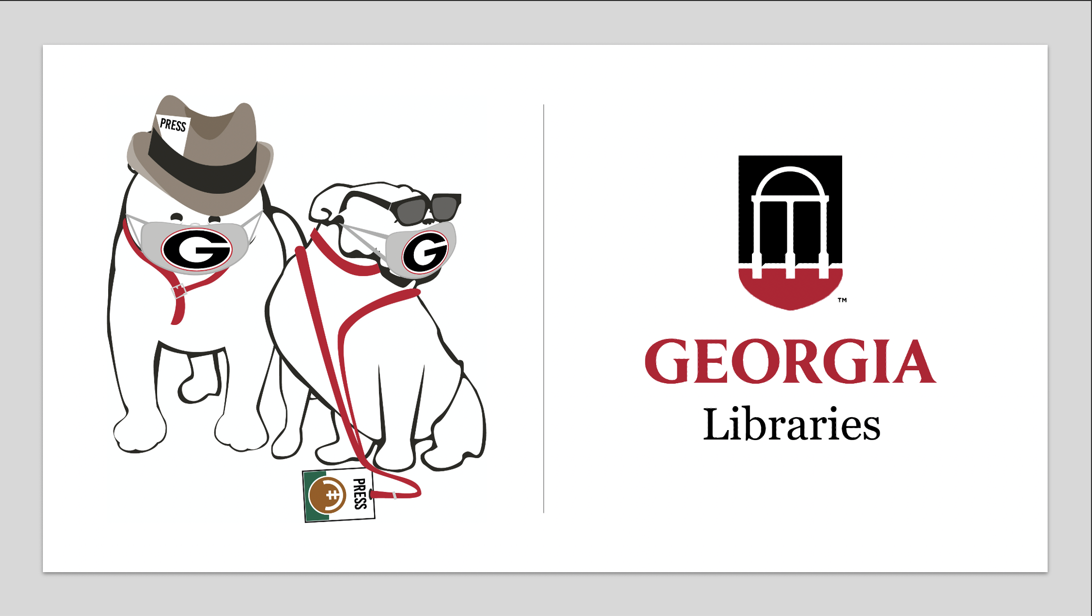 image of bulldawgs with press credentials and masks, next to a UGA Libraries logo