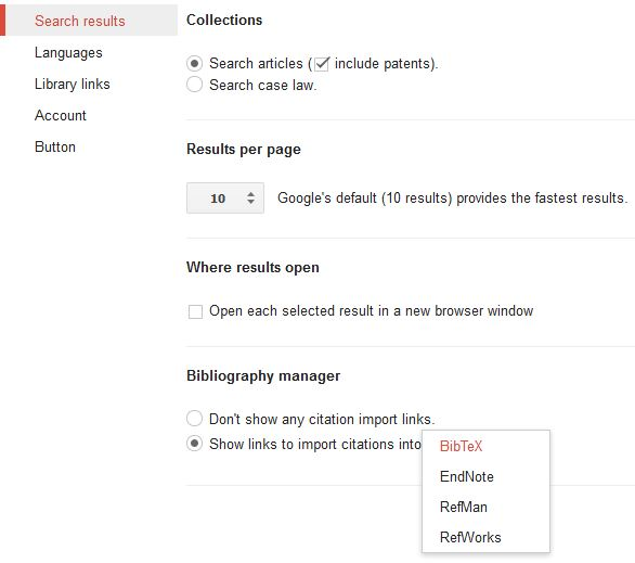 Google Scholar Search results settings
