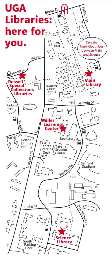 Map between MLC, Main, Special Collections and Science Libraries