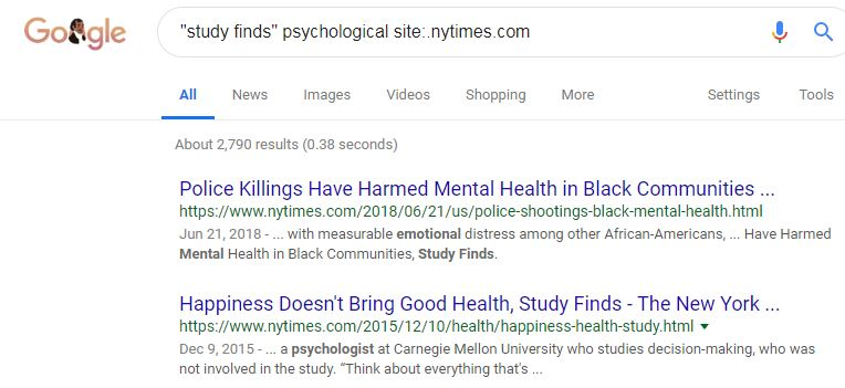 Image of Google search for study finds phrase