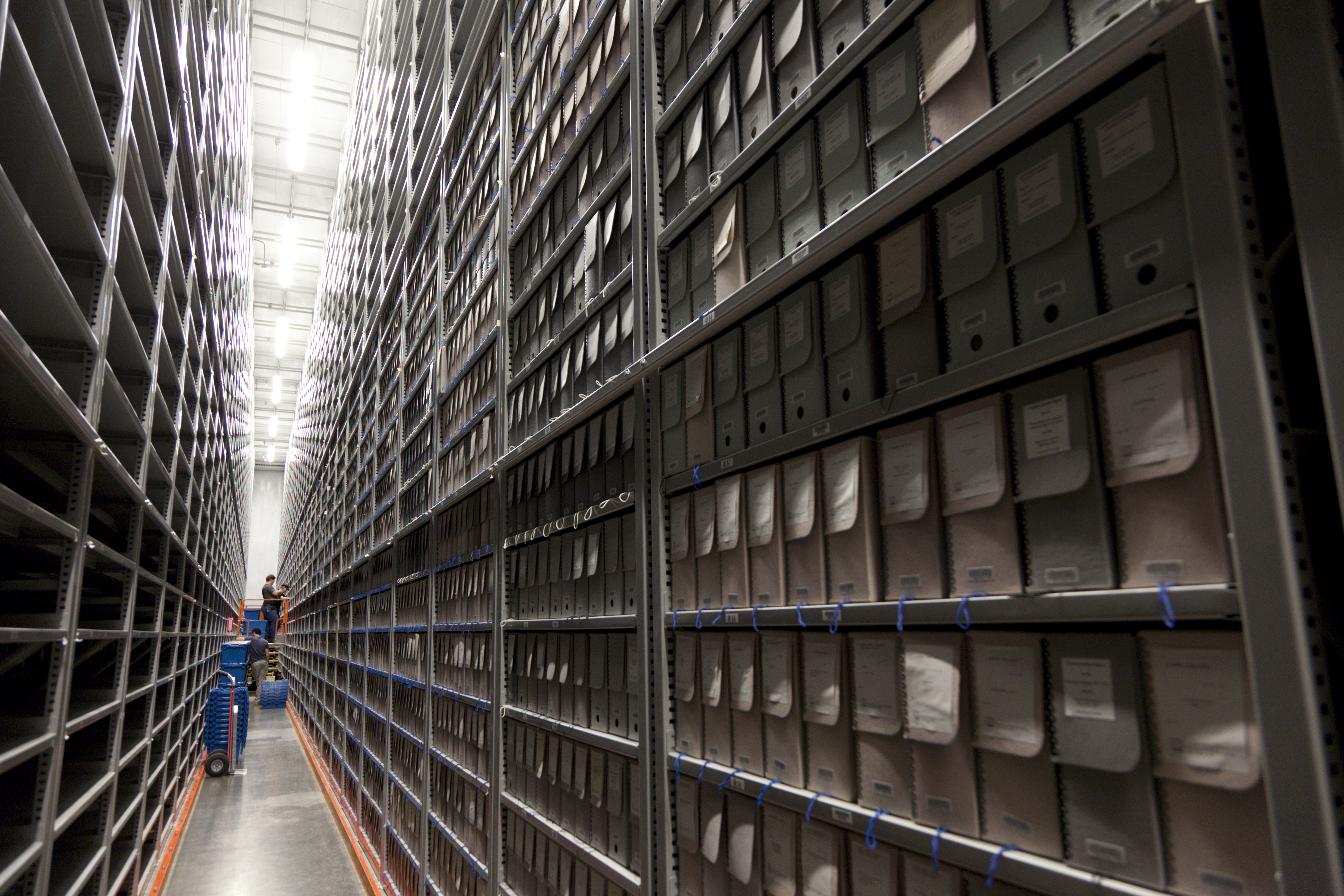 Special Collections materials are stored in a hi-density vault on site