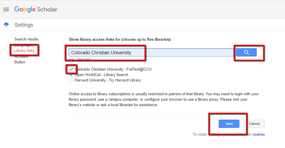 google scholar setup showing checkbox and save button