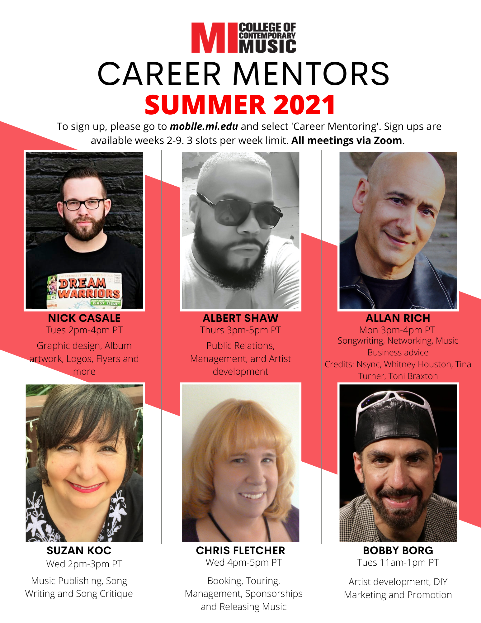 Career Mentors Summer 2021; To sign up, please go tomobile.mi.eduand select 'Career Mentoring'. Sign ups are available weeks 2-9. 3 slots per week limit.All meetings are via Zoom.