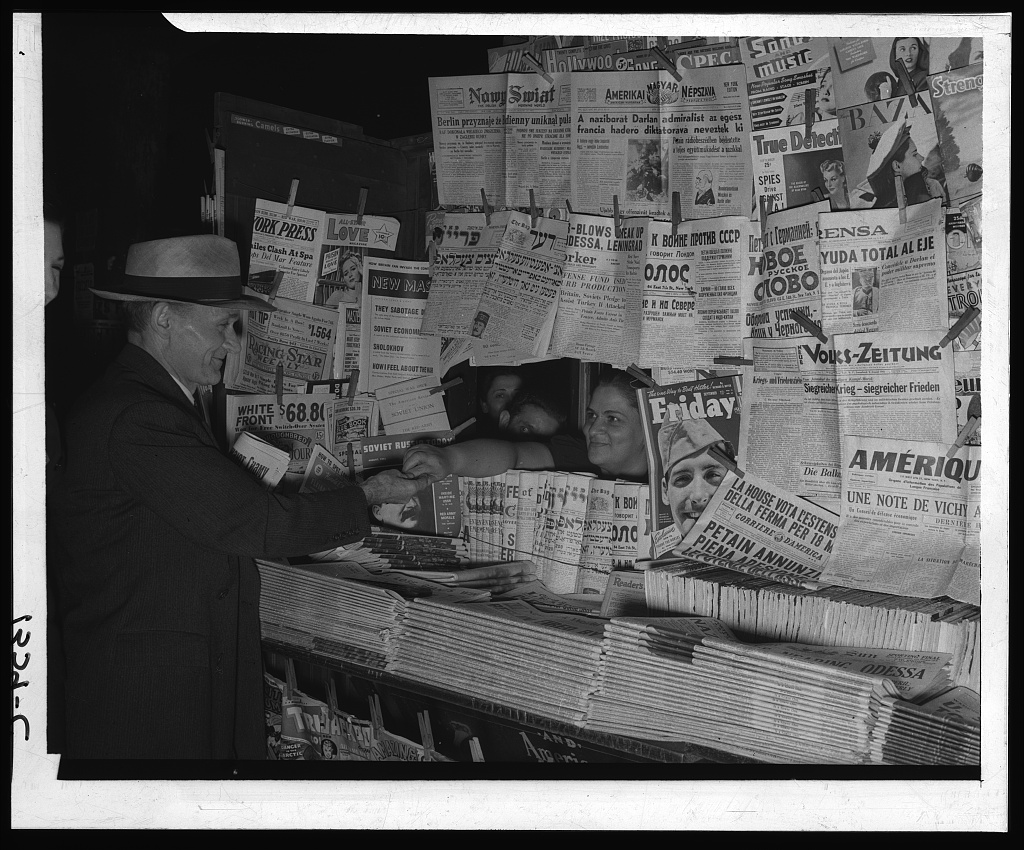Newsstand with Foreign Language Newspapers