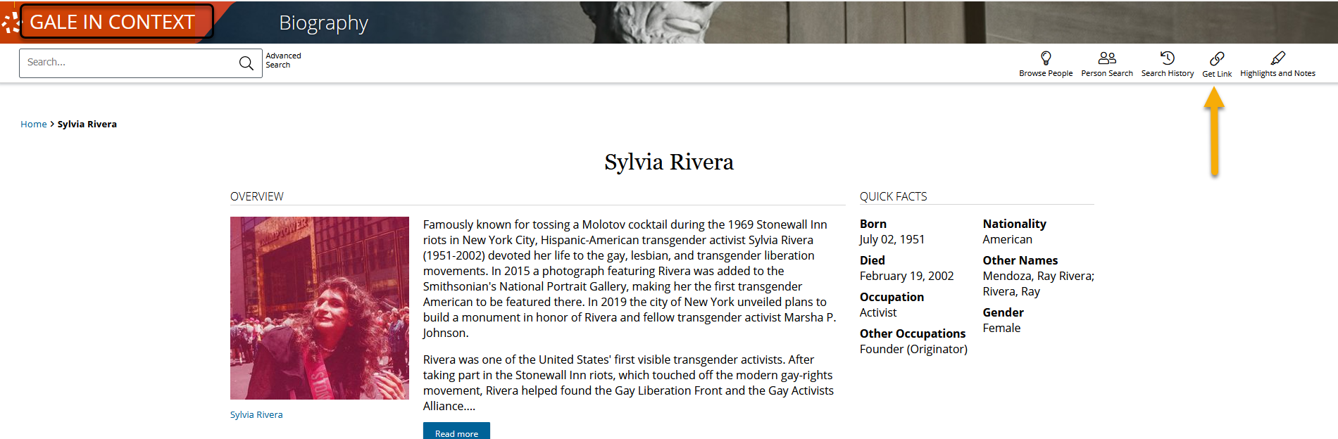 gale page on Sylvia Rivera, arrow to permalink ico