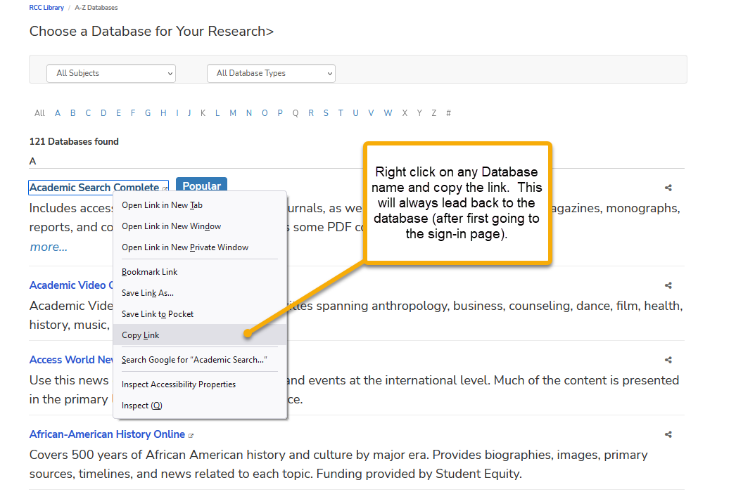 right click on any database name and copy the link.  database list with pop up for copy and paste