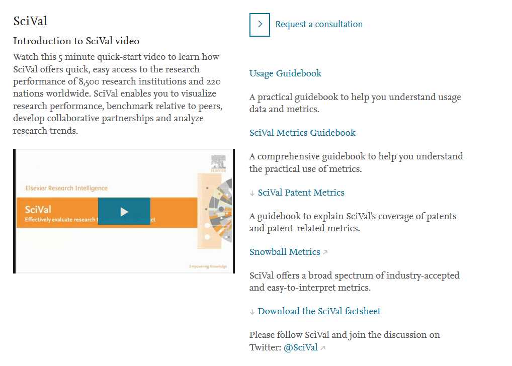 Image of SciVal Help Page which links to online tutorial page