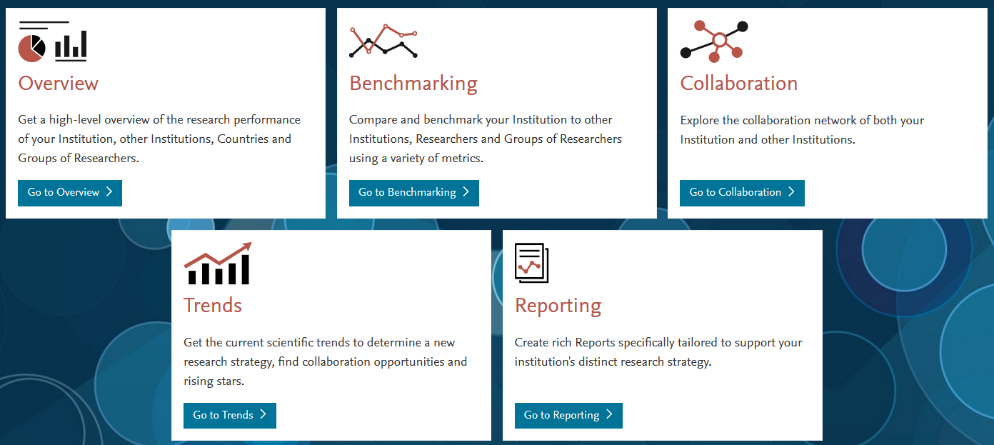 Image of SciVal landing page: Showing modules Overview Benchmarking Collaboration Trends Reporting