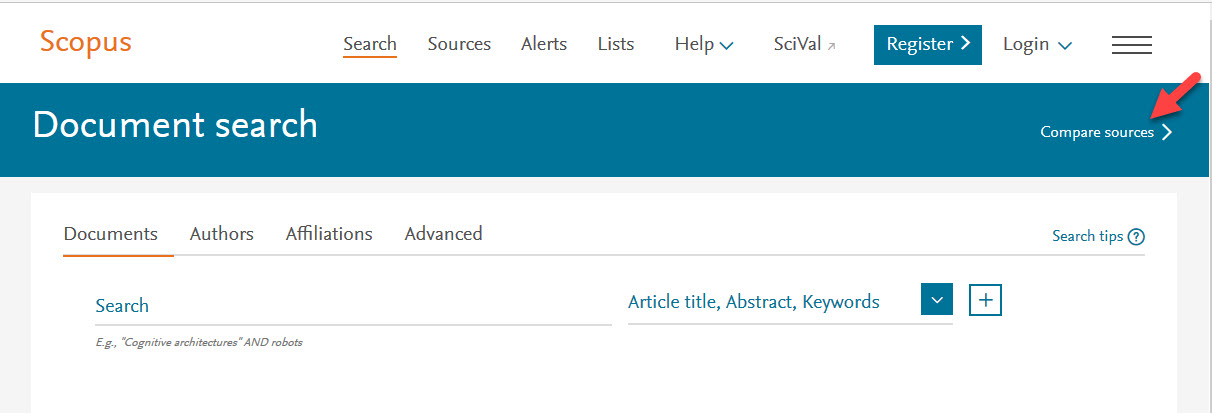 Location of Compare Sources tool in Scopus Document search page