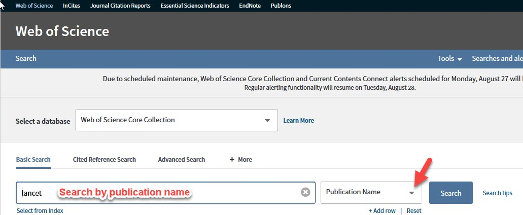 image: Web of Science publication search