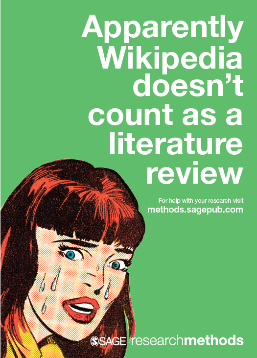 Image says: Apparently Wikipedia dowsn't count as a literature search