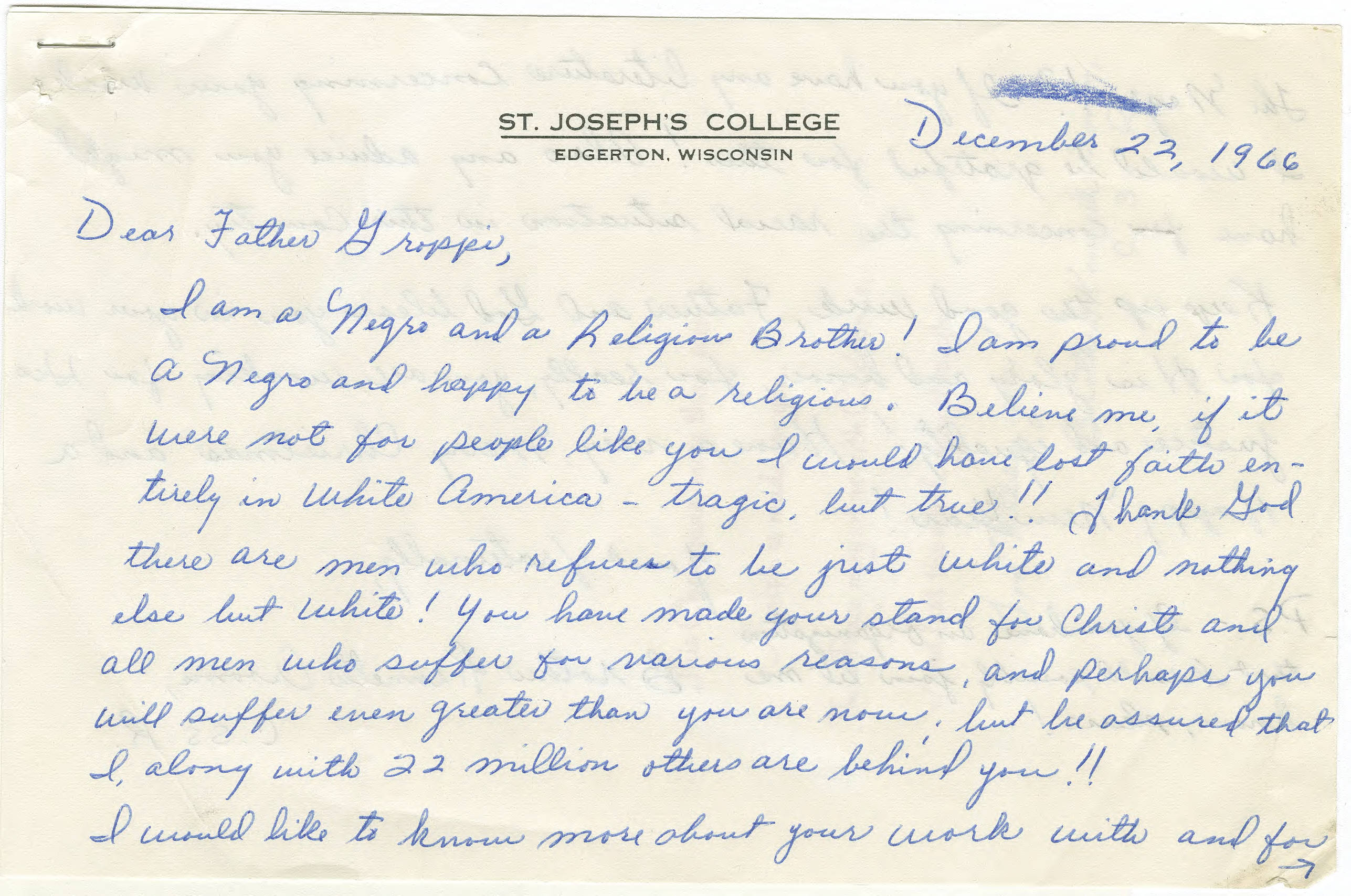 digital image of a letter written to Father James Groppi in 1966