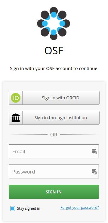 Screenshot of OSF login page