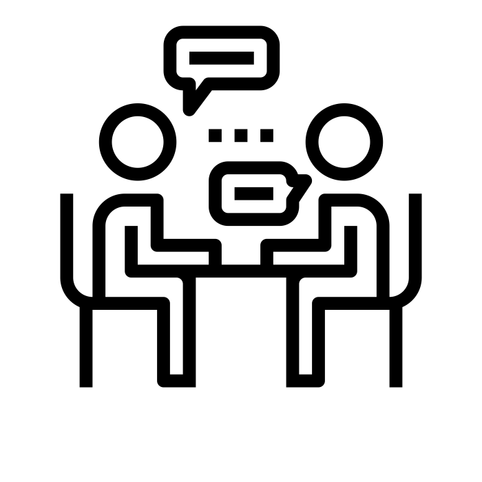 black and white drawing of two people at a table with speech bubbles