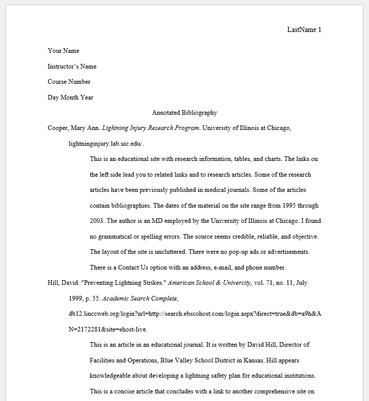 MLA 9th Annotated Bibliography Example