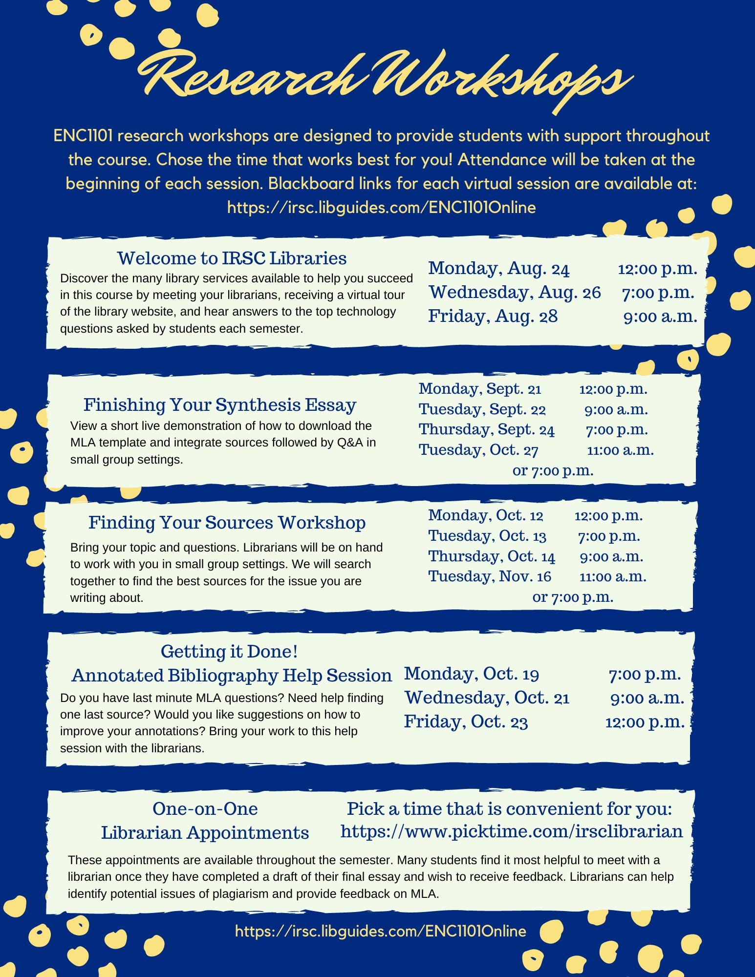ENC1101 Online Fall 2020 Workshops