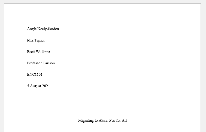 MLA 9th Group Research Project Title Page Example