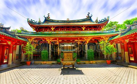 Buddhist Temple Courtyard in China