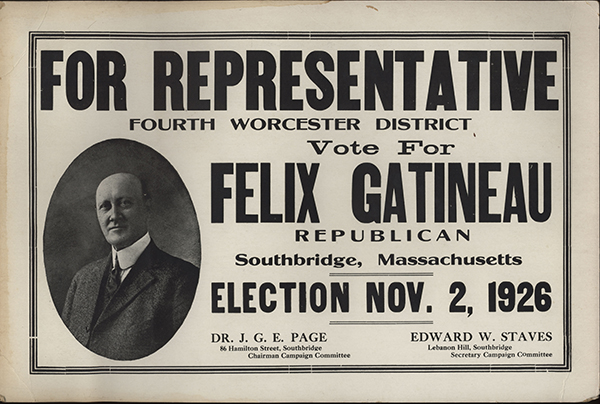 Campaign poster for election bid for RepresentativCampaign poster for election bid for Representative, 1926.
