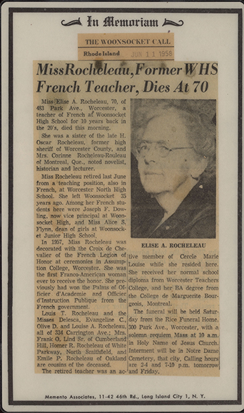 Newspaper obituary for Elise Rocheleau, attached to the reverse side of the prayer card from her funeral.